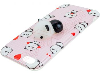 Pink TPU case with 3D squeeze panda for Phone 6 / 6S